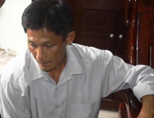 Nguyễn Thanh Châu tại cơ quan công an. Ảnh: X.H