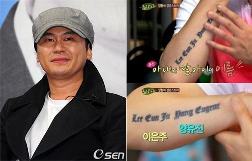 Dancer Yang Hyun Suk lưu giữ tên con gái và vợ trên tay.