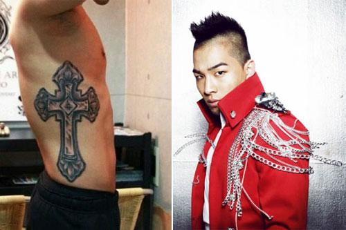 Taeyang của Big Bang, một tín đồ sùng đạo với hình thập giá lớn trên người.